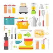 평면 벡터 주방 조리 도구, 장비 및 가구 — 스톡 벡터 © MSSA #86802598