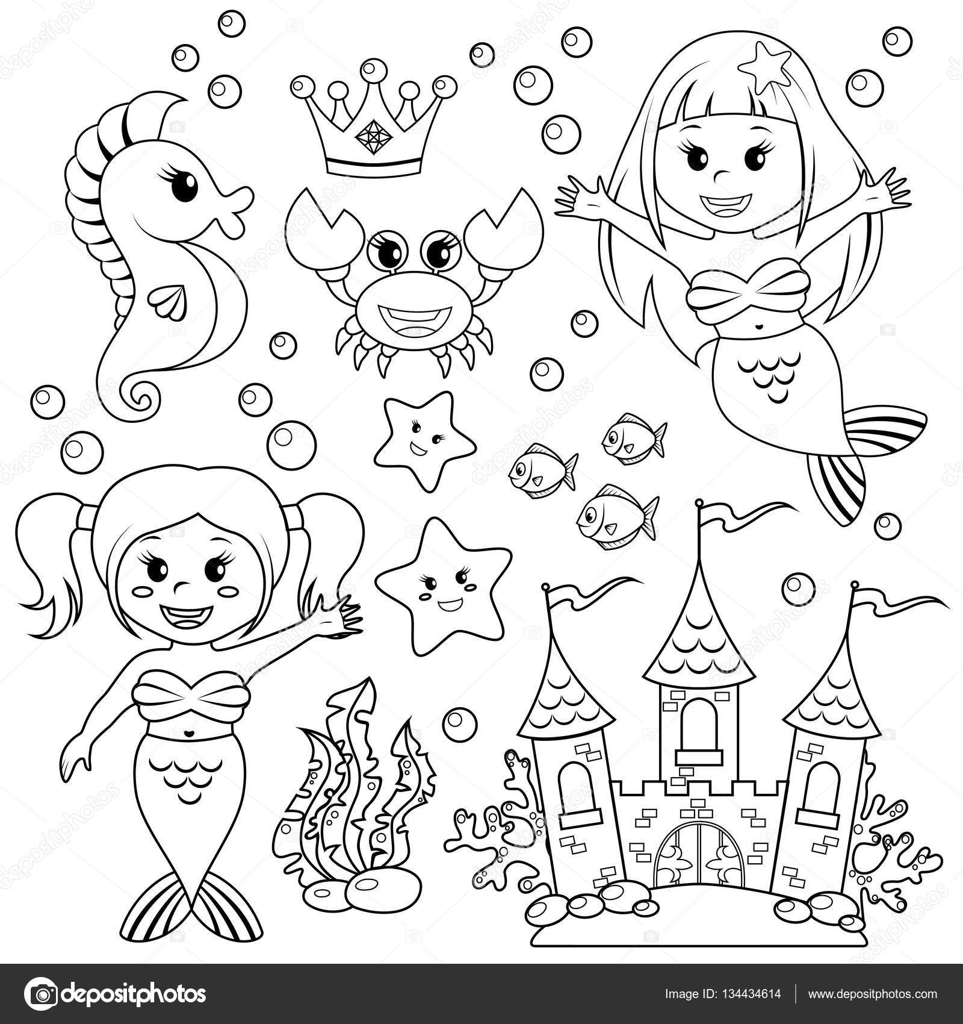 Sirena castello di subacquea e animali marini pesci - Sirena libro da colorare ...