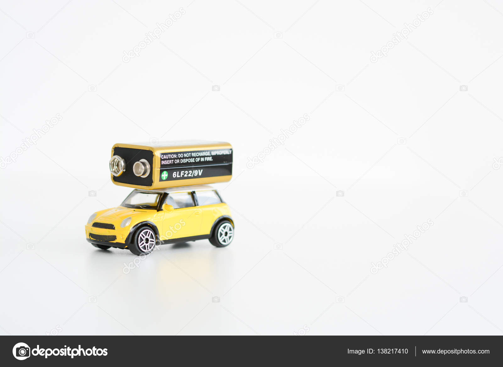 Electric Cars Concept With Toys Vehicle On White Background