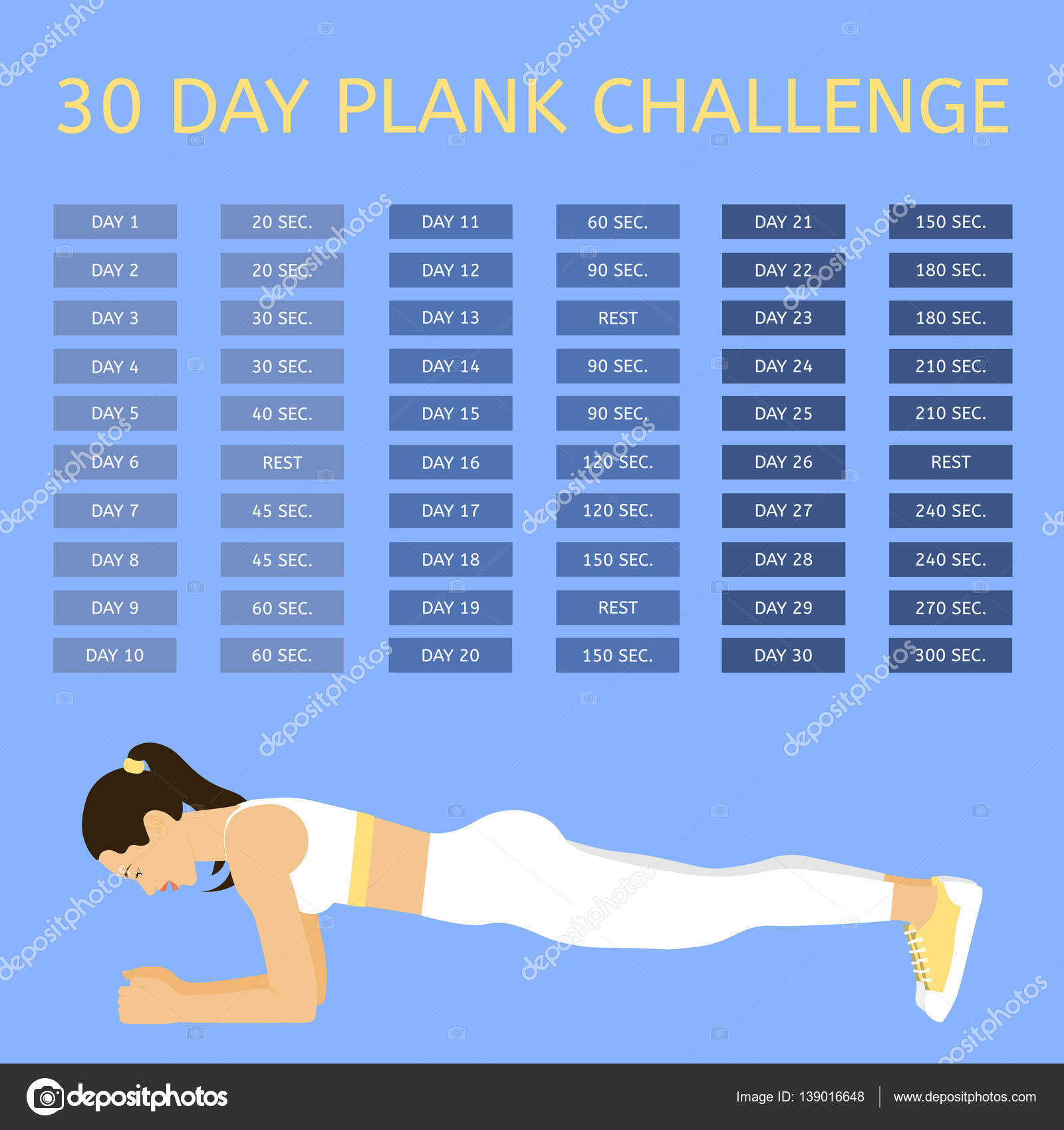 30 day plank challenge. Young woman performing an exercise ...