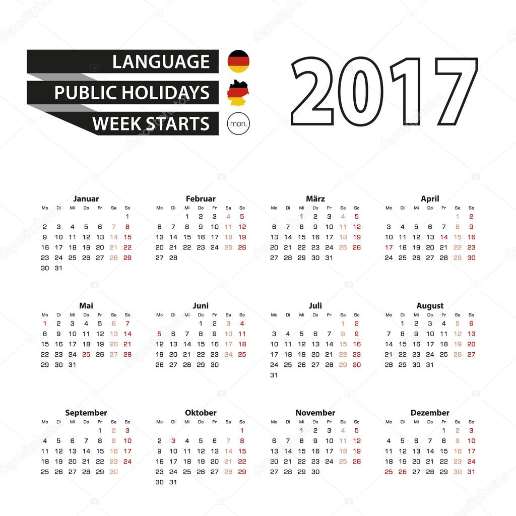 Calendar 2017 on German language. With Public Holidays for Germany ...