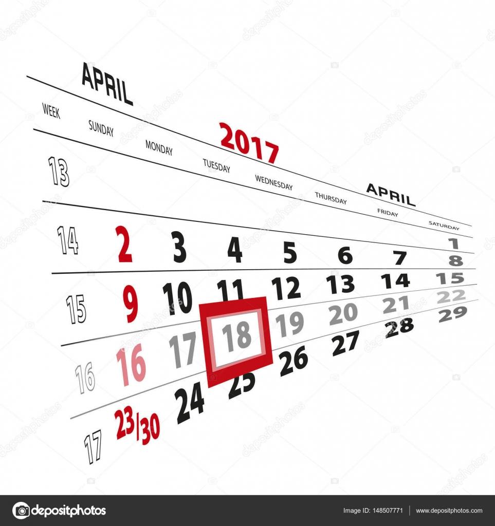 4月 18 日,在 2017年日历上突出显示.矢量图– 图库插图