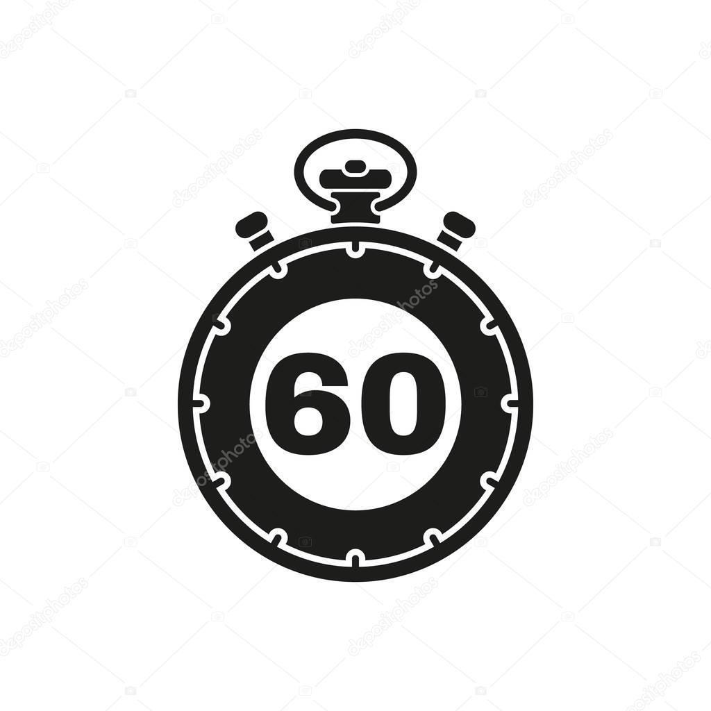60 秒, 分钟秒表图标.时钟和手表, 计时器, 倒计时标志.用户界面.web.