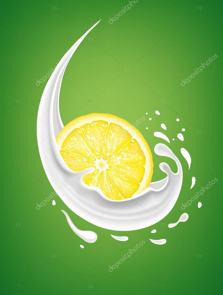Illustration of origami lemon slice with watercolor splash | Stock ...