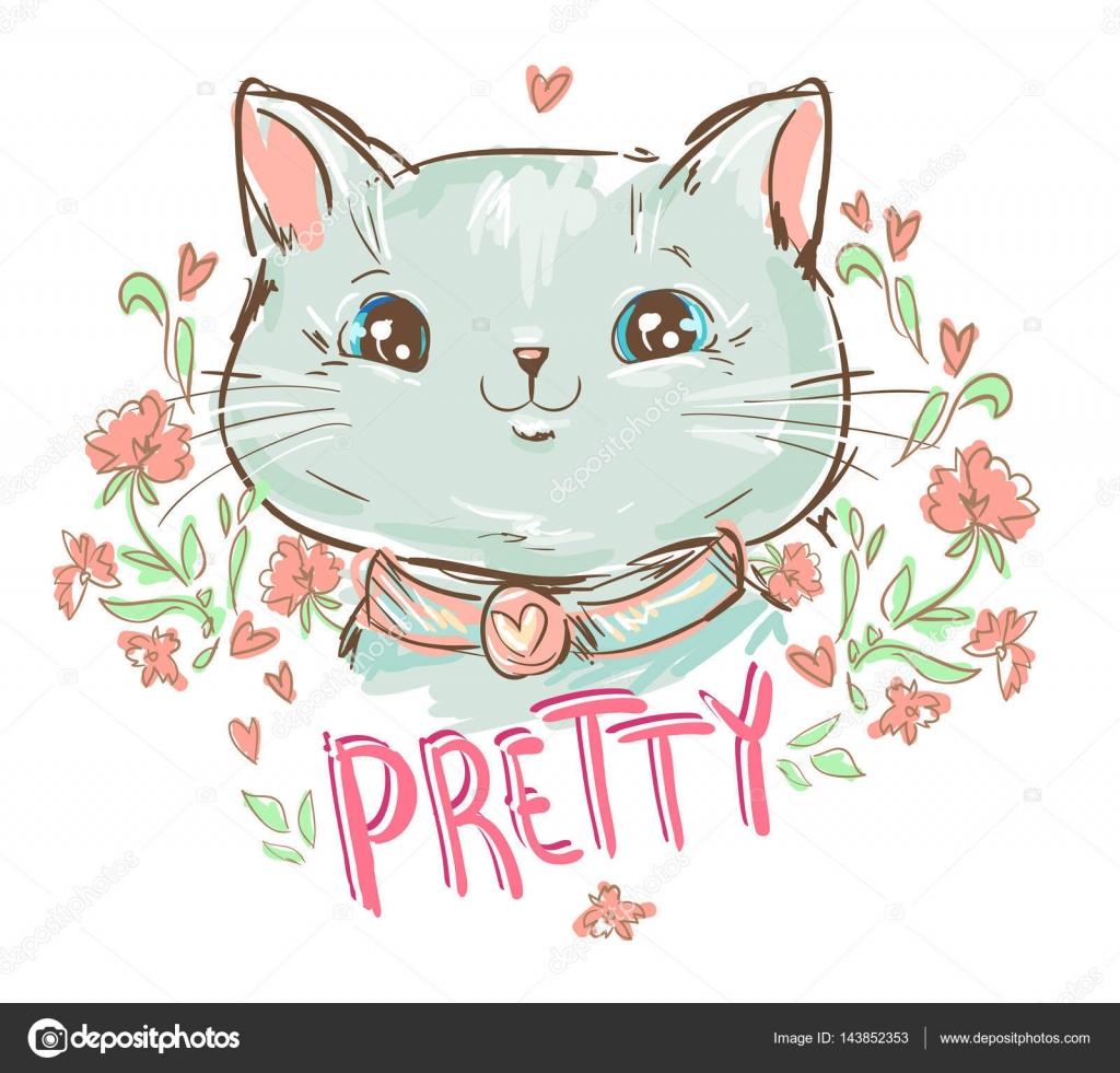 可爱猫咪素描矢量图– 图库插图