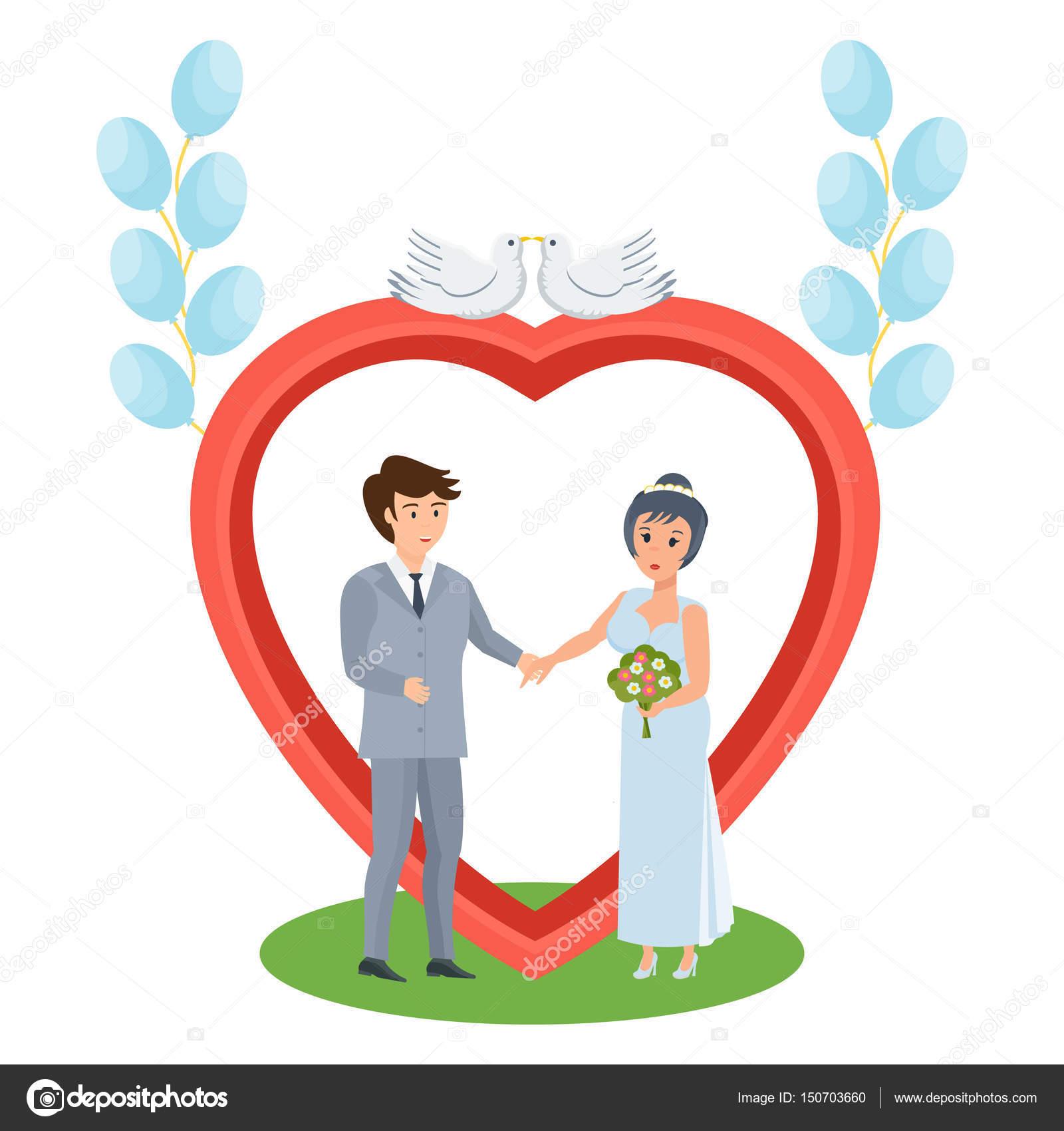 热恋中的情侣站附近拱,年轻人的婚礼 — 图库矢量图片#150703660