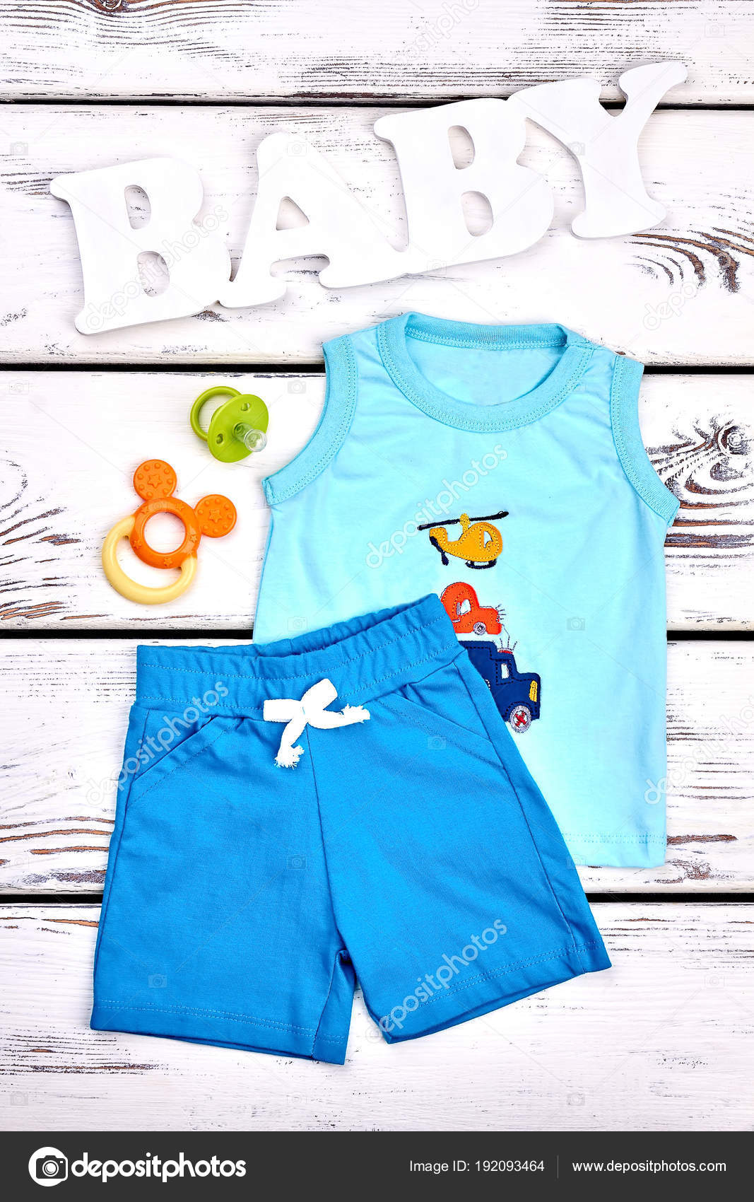2cff7f096 Baby Boy Summer Clothes Background Stock Photo Denis 192093464