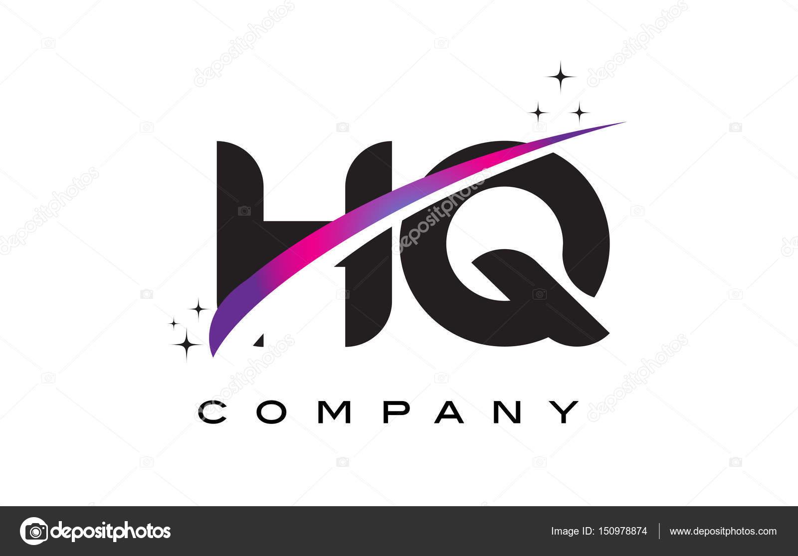 hq h q 黑色字母标志设计与紫色洋红色旋风 — 图库矢量图片