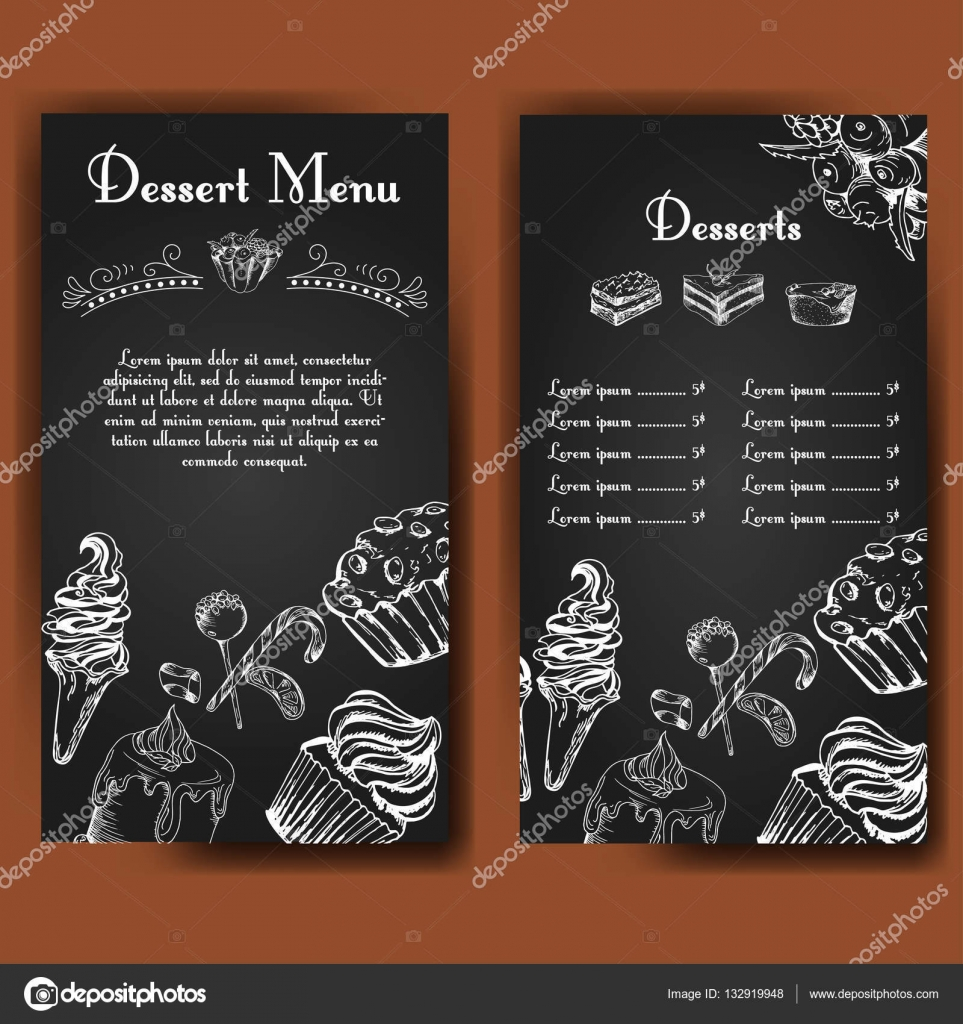 Template for dessert menu with sweet tasty cakes Hand drawn – Dessert Menu Template