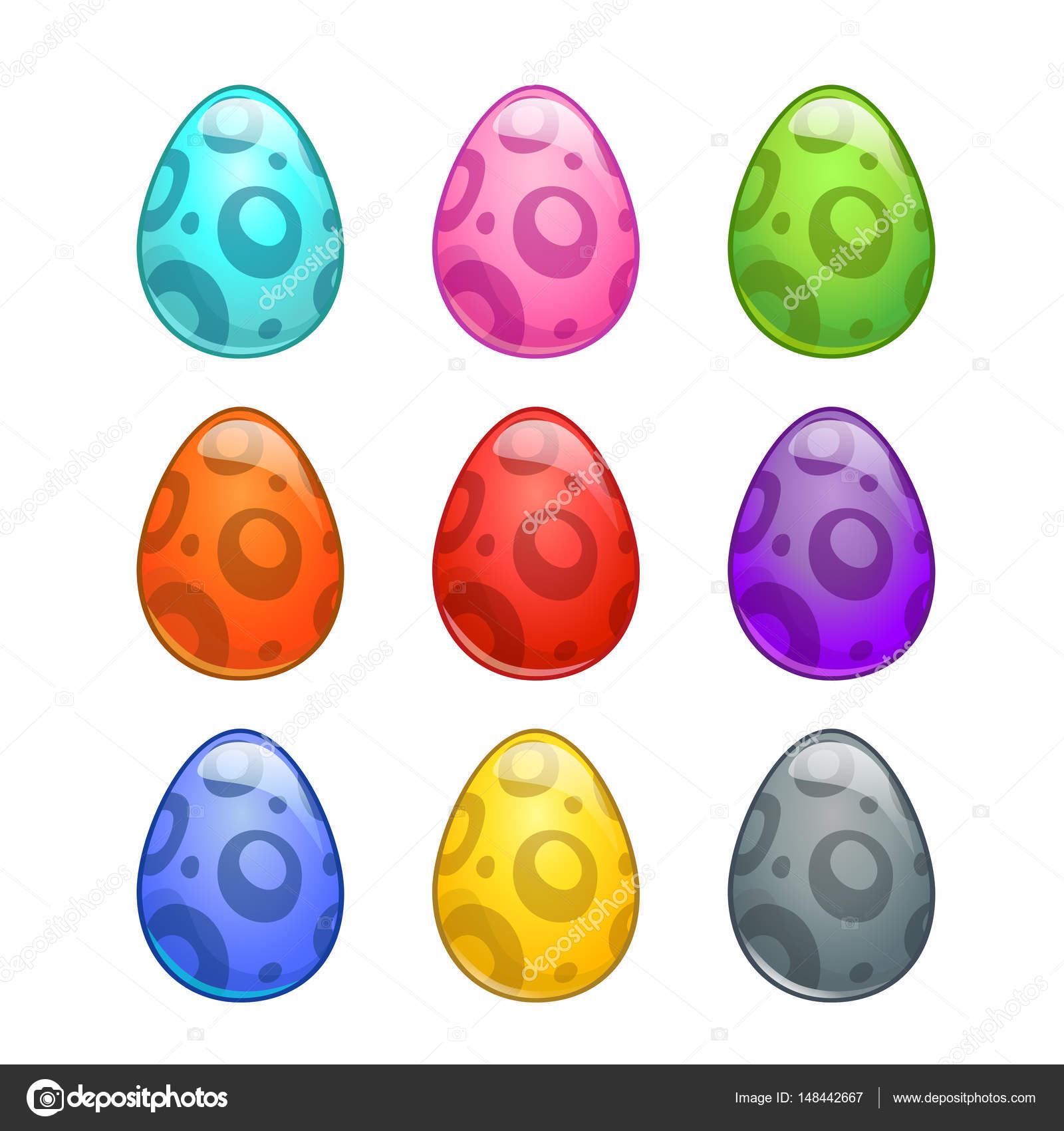 colorful cartoon eggs set u2014 stock vector lilu330 148442667