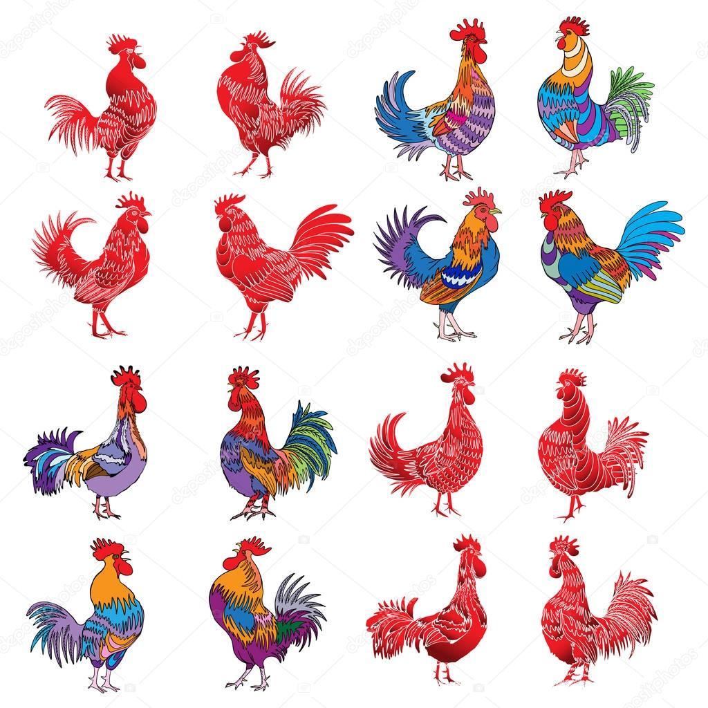 金色的公鸡和彩色轮廓束 — 图库矢量图片#129992974