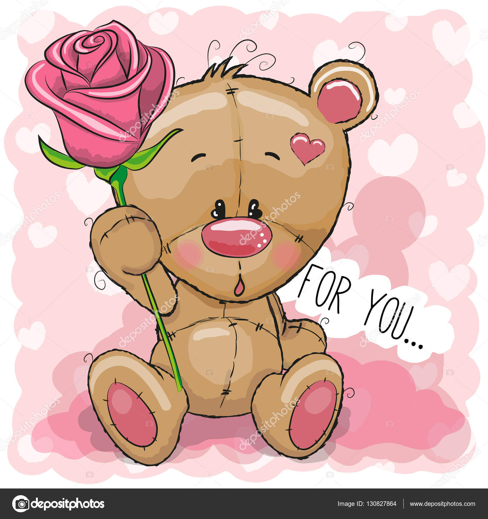 Cute cartoon Teddy bear with flower Stock image and