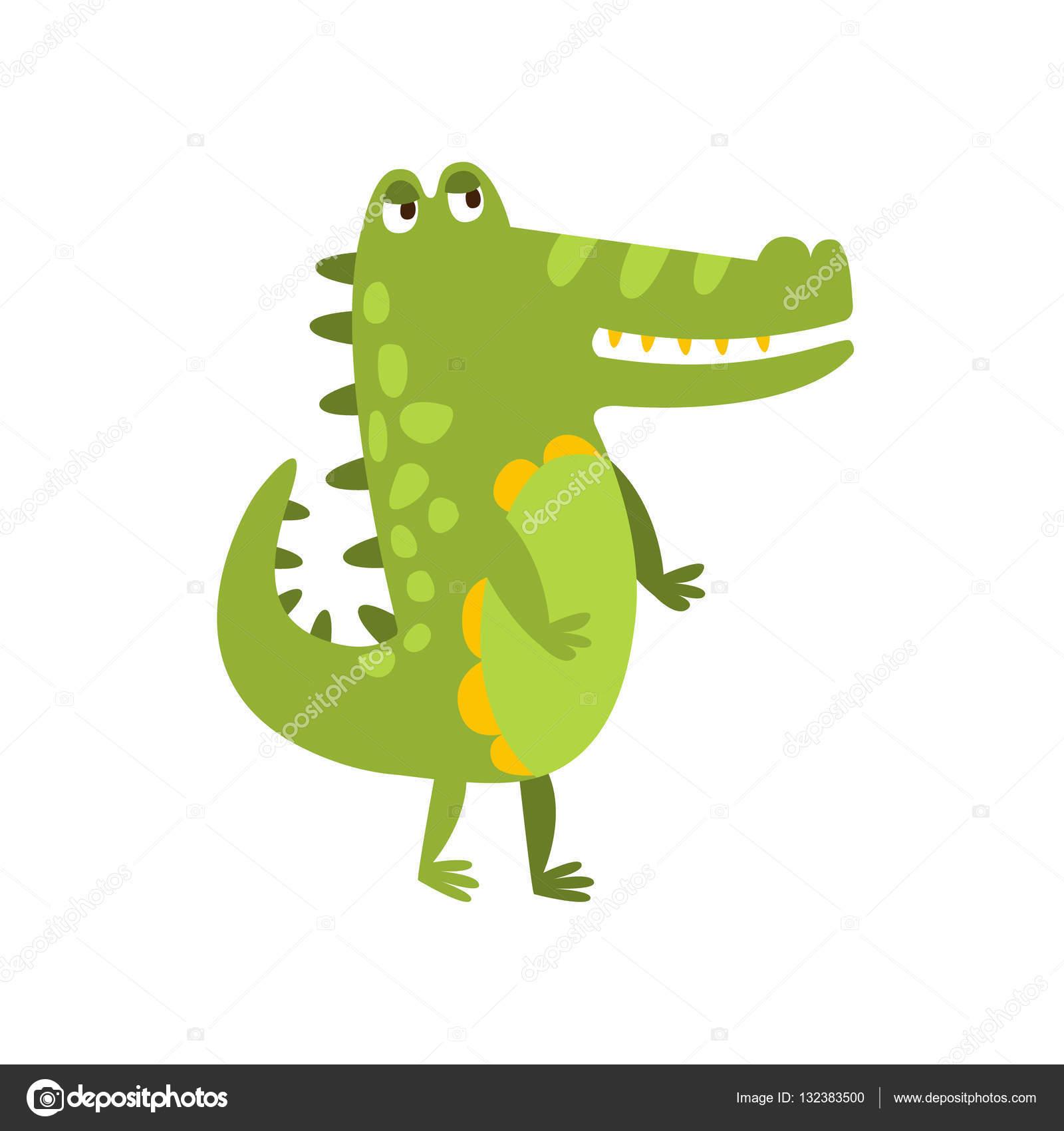 Crocodile marchant sur deux pattes plates cartoon vert - Image crocodile dessin ...