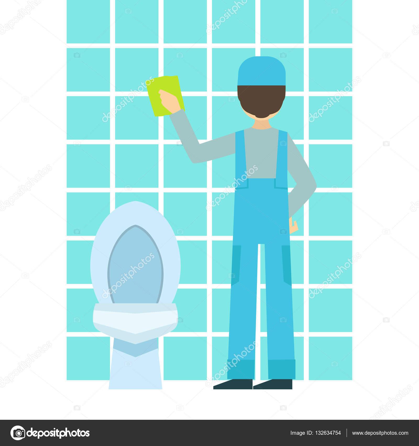 Hombre lavado azulejos en cuarto de baño, limpieza ...