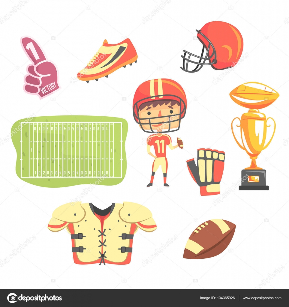 boy american football player kids future dream professional kids future dream professional occupation illustration related to profession objects smiling child carton character career attributes around
