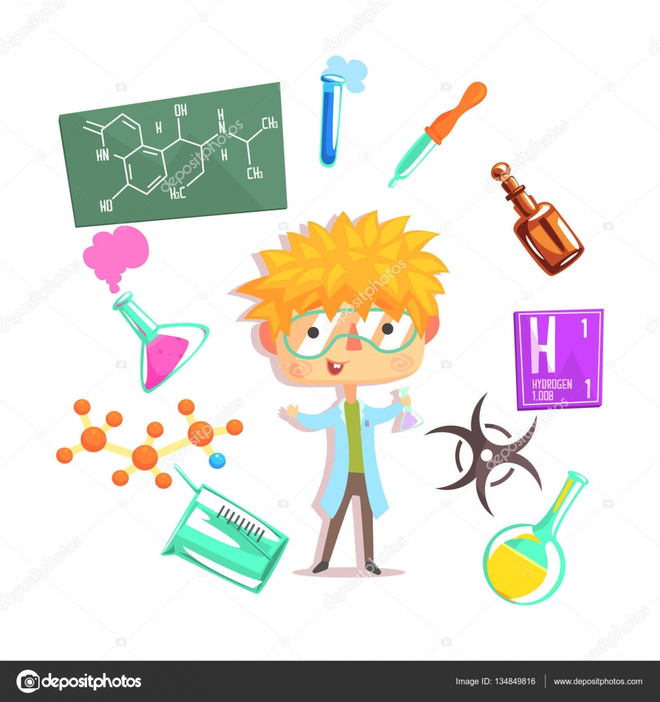 boy chemist kids future dream professional occupation boy chemist kids future dream professional occupation illustration related to profession objects smiling child carton character career