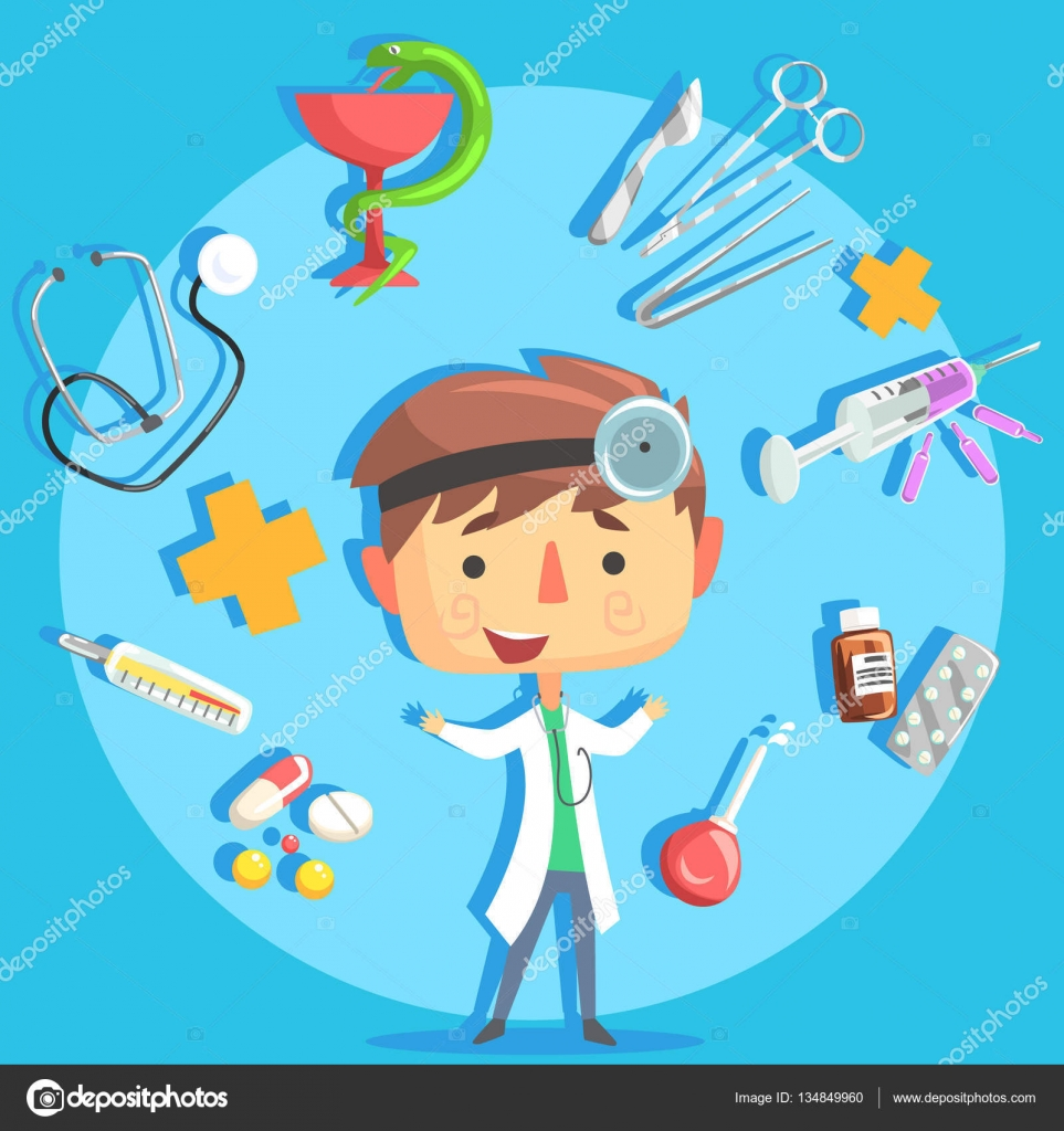 boy doctor kids future dream professional occupation illustration boy doctor kids future dream professional occupation illustration related to profession objects smiling child carton character career attributes