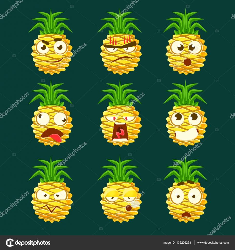 ananas cartoon emoji portraits avec diffrentes expressions faciales motionnelles collection dautocollants de dessin anim moticnes de vecteur avec le