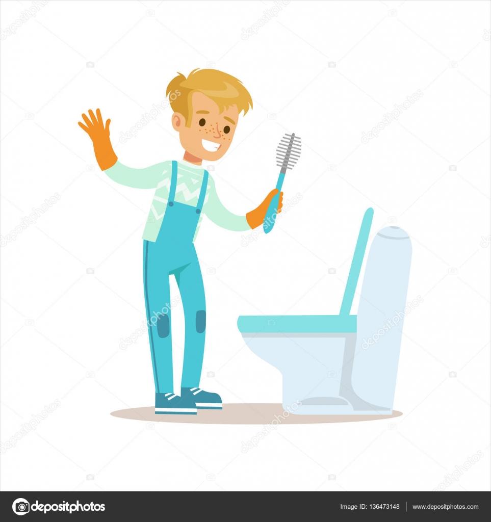 Muchacho en los guantes de limpieza de aseo con cepillo - Imagenes de limpieza de casas ...