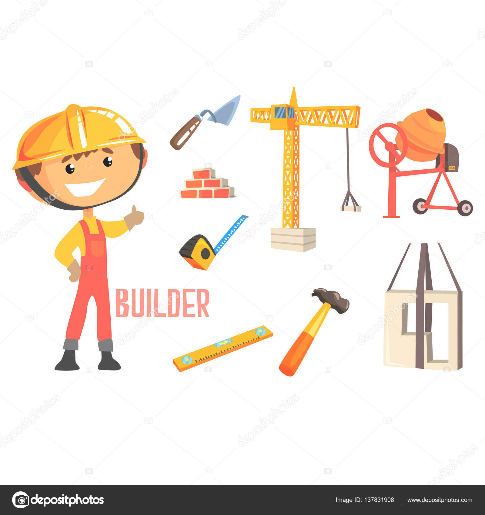 boy builder kids future dream construction worker professional illustration related to profession objects smiling child carton character job career attributes around cute vector vector by topvectors