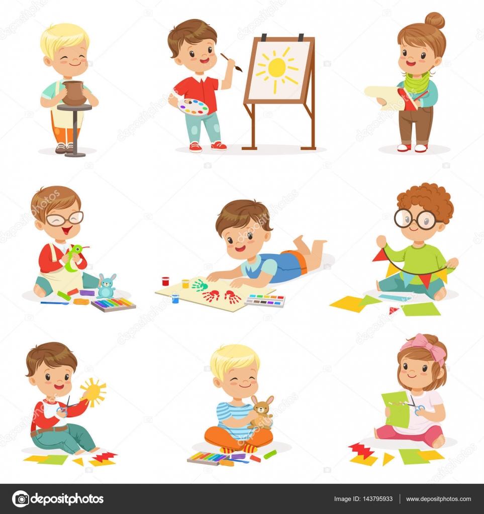 Little Kids Playing Outside Drawing