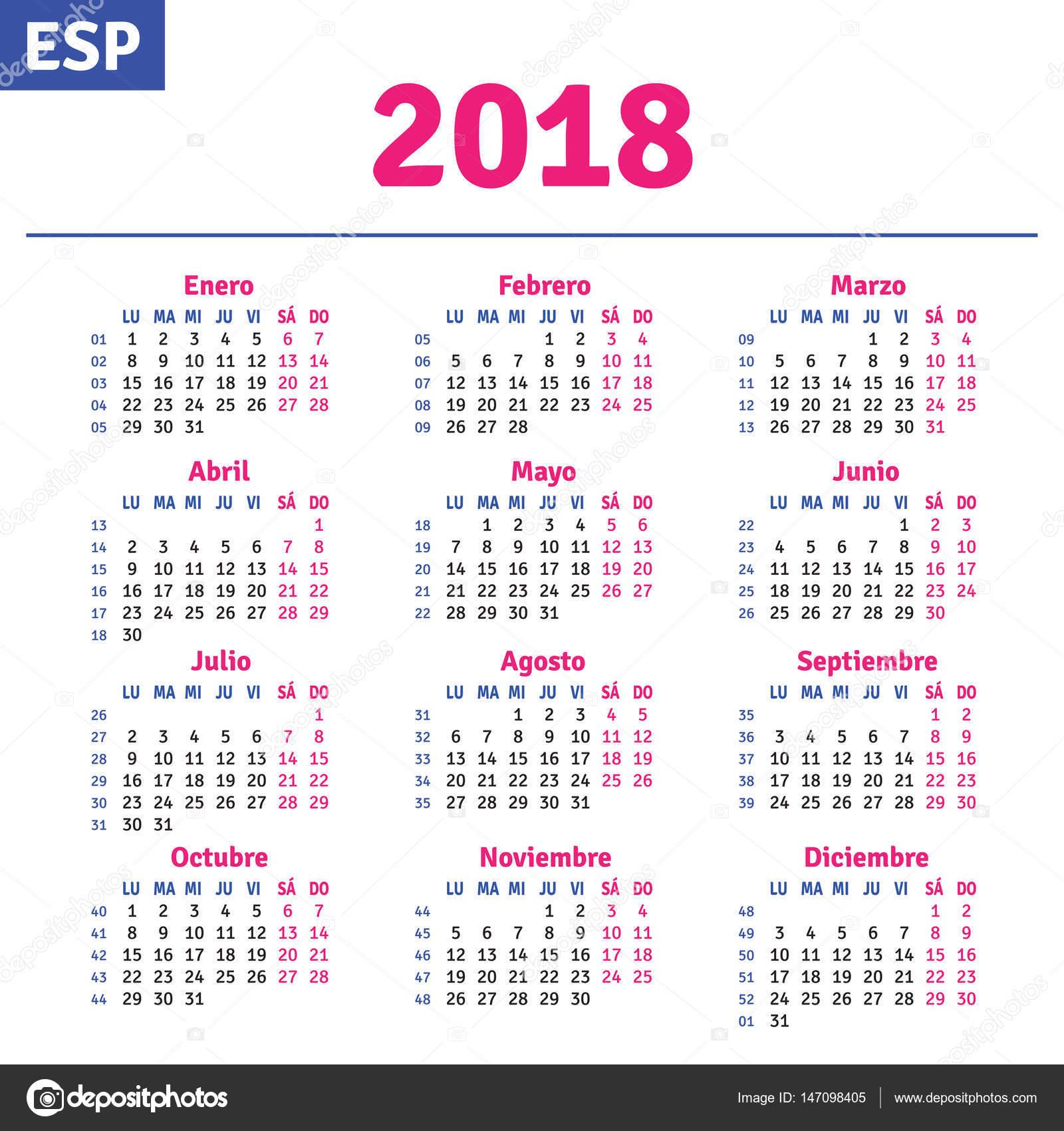 Calendar 2018 Spanish - kalender HD