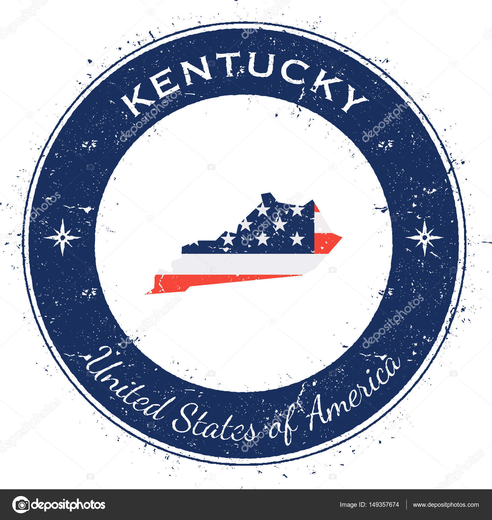 美国国家国旗地图与肯塔基州肯塔基州圆爱国徽章 grunge 橡皮戳