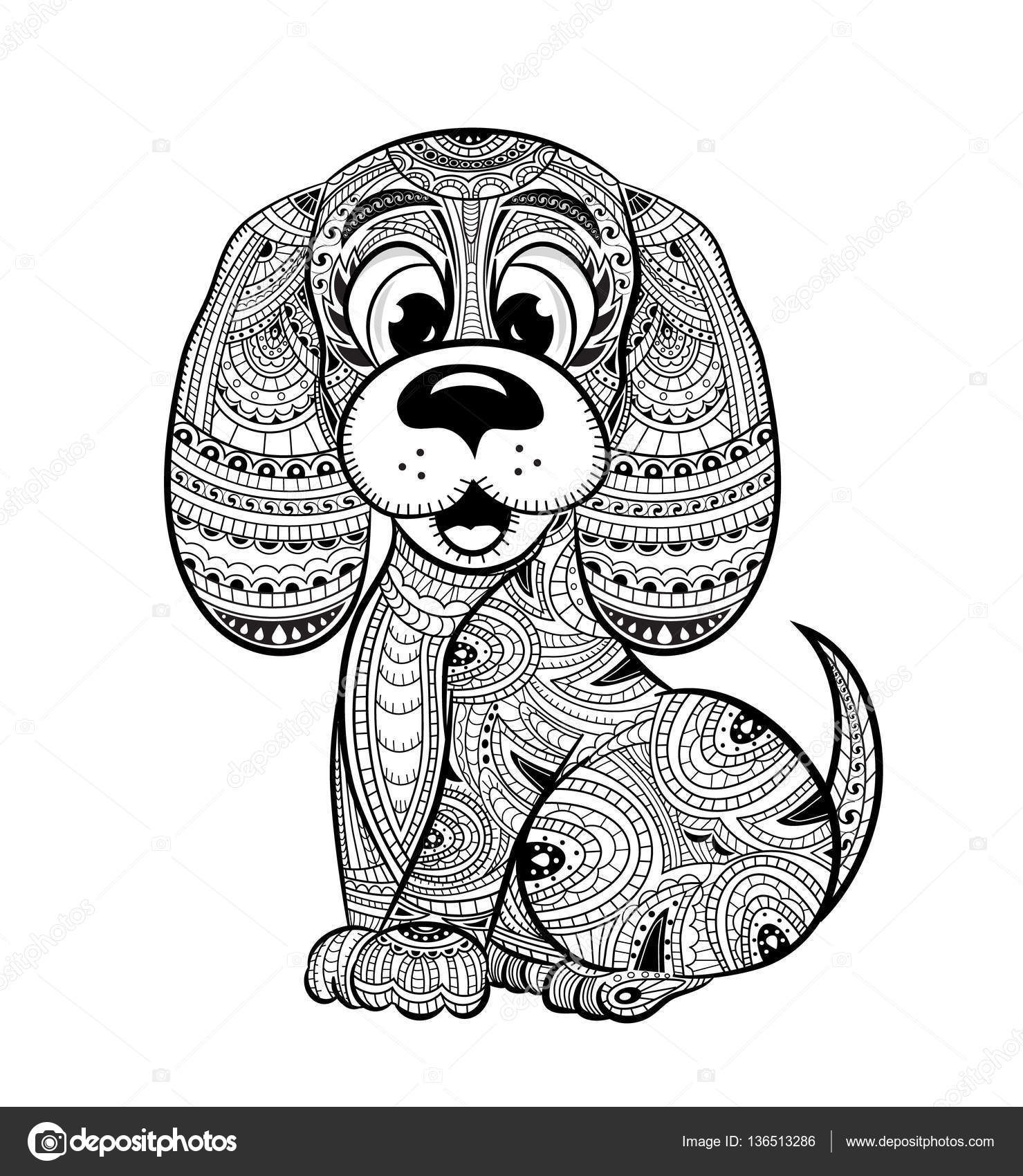 The stress coloring book - Dog Anti Stress Coloring Book For Adults Stock Illustration