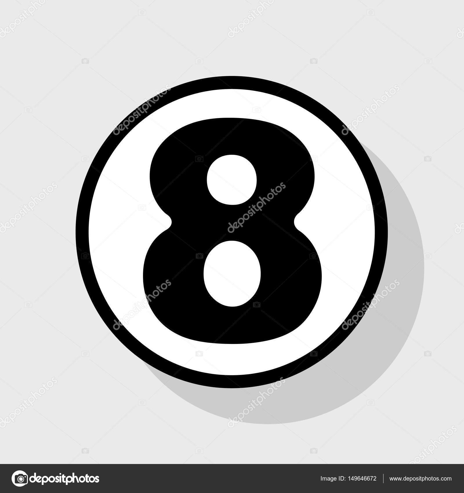 矢量.在与阴影在灰色背景的白色圆圈的平黑色图标
