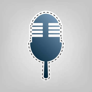 Retro microphone sign. Vector. Blue icon with outline for cutting out at gray background.