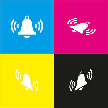Ringing bell icon. Vector. White icon with isometric projections on cyan, magenta, yellow and black backgrounds.