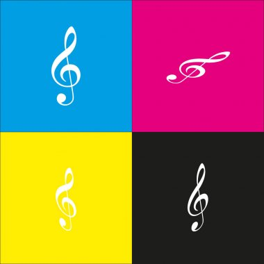 Music violin clef sign. G-clef. Treble clef. Vector. White icon with isometric projections on cyan, magenta, yellow and black backgrounds.