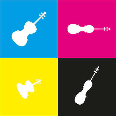 Violine sign illustration. Vector. White icon with isometric projections on cyan, magenta, yellow and black backgrounds.