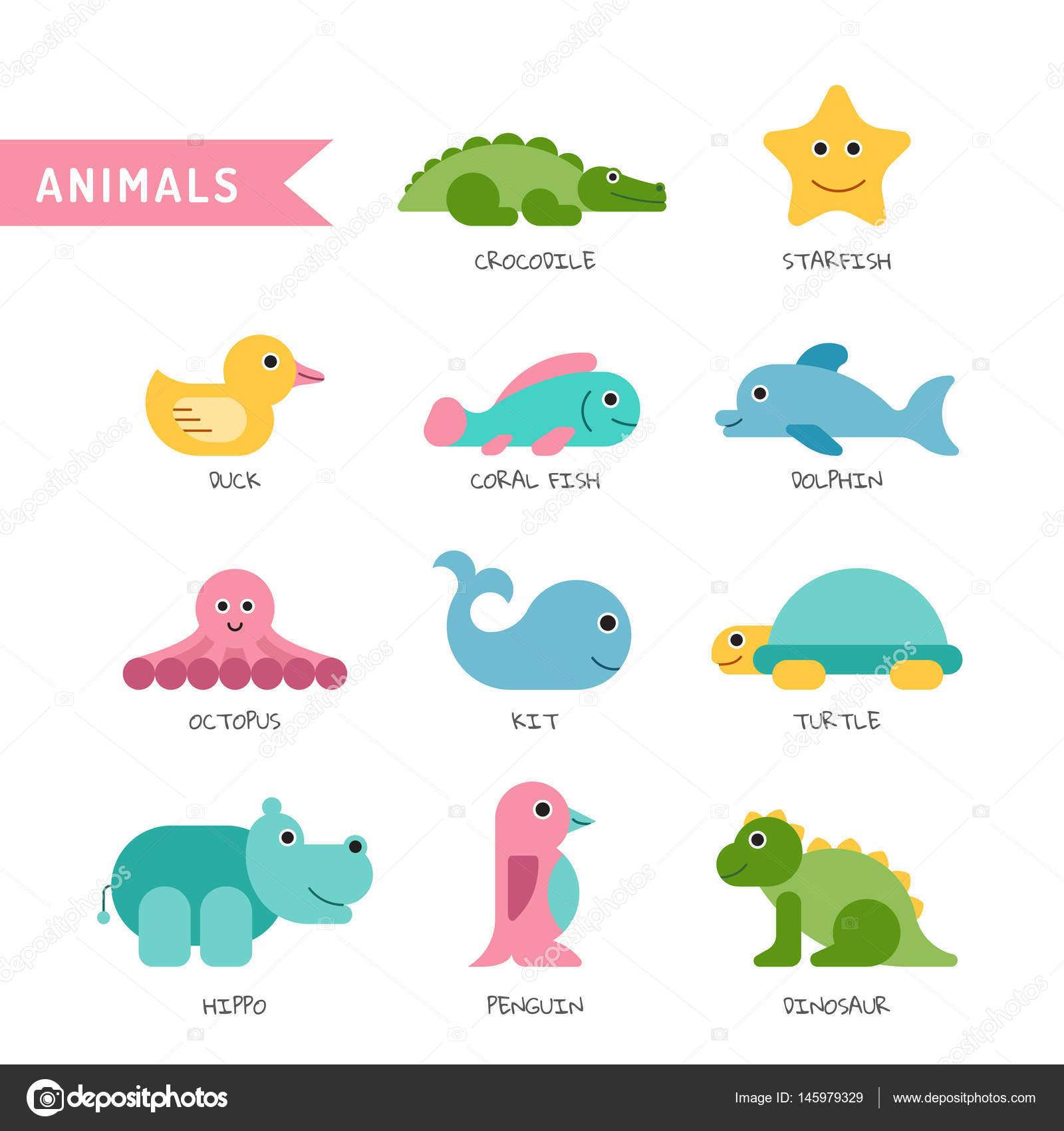 套上白色的孤立背景儿童插图画的可爱的小动物 — 图库矢量图片