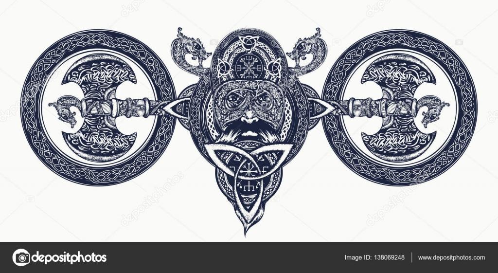 tatouage de viking style celtique design de t shirt t te. Black Bedroom Furniture Sets. Home Design Ideas
