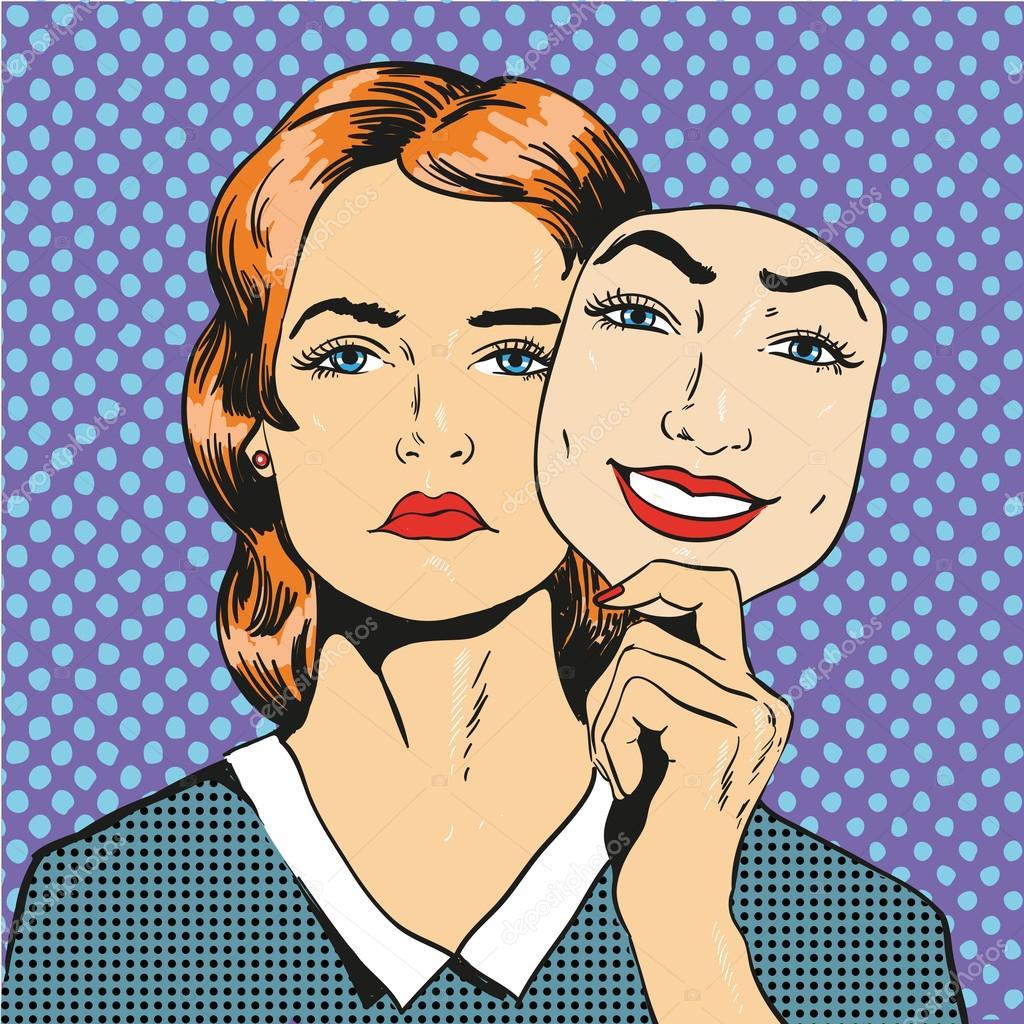 Love Finds You Quote: Femme Au Visage Malheureux Triste Maintenant Sourire Faux