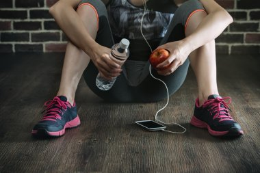 Take rest listening to music drinking water eating apple