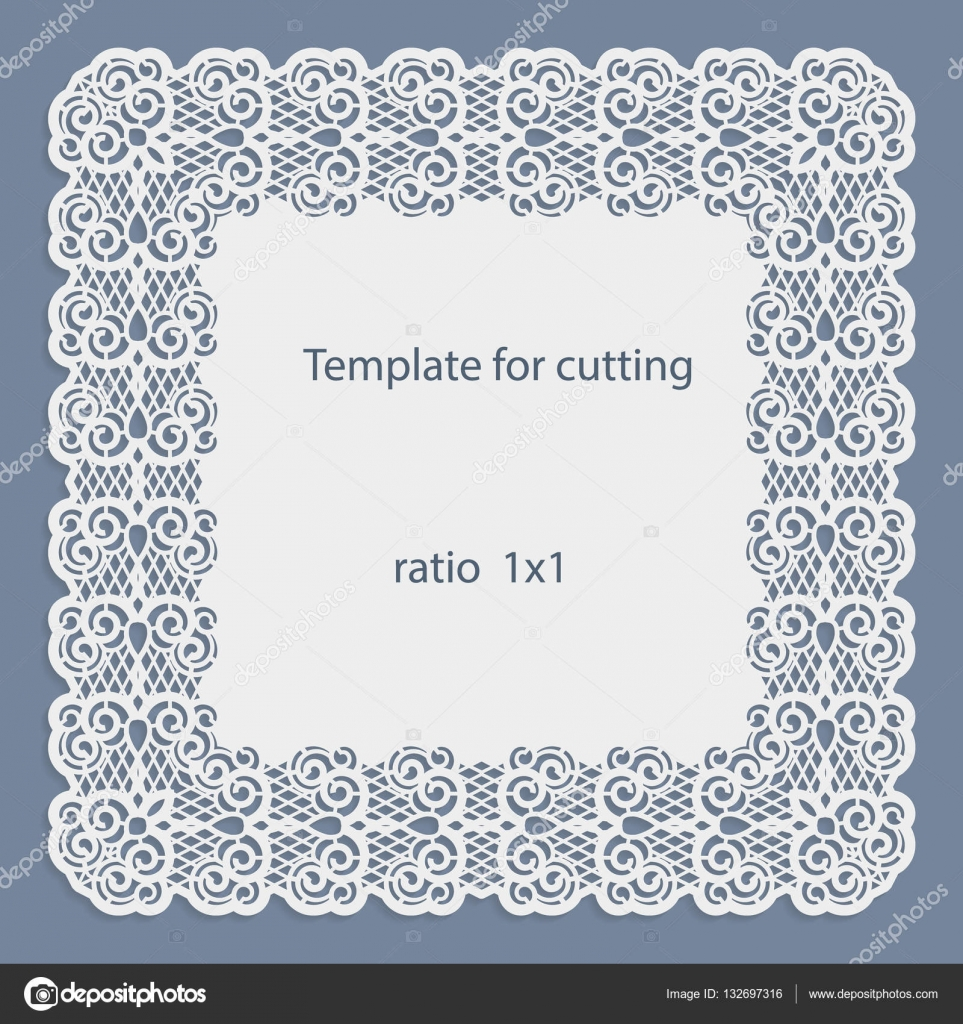 Greeting card with openwork border paper doily under the cake – Border Paper Template