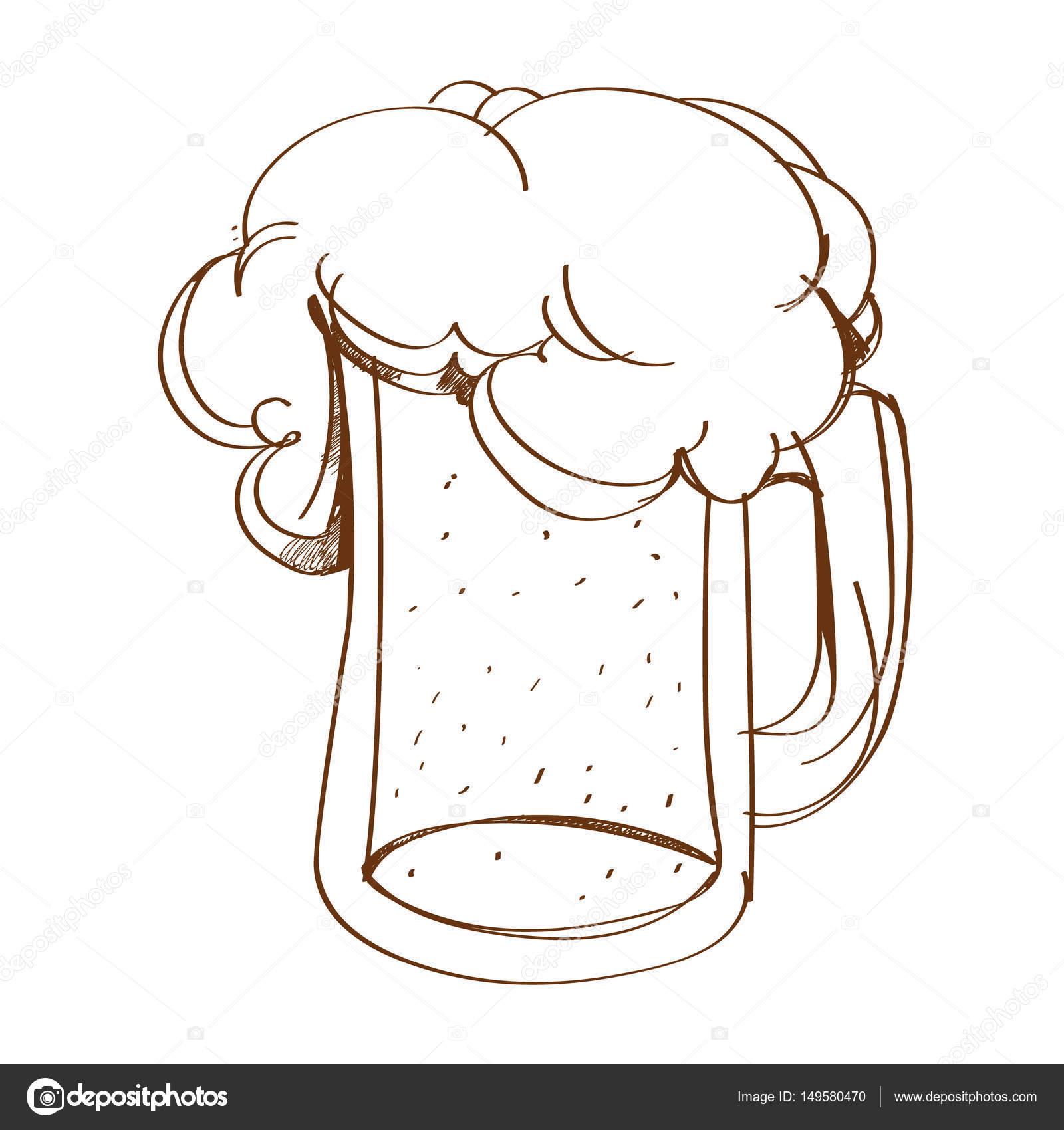 大杯的啤酒泡沫大纲 drawing.vector 图— 图库矢量图片#149580470