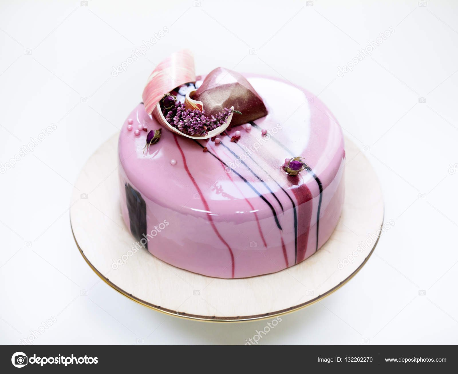 Minimalistic Pink Mousse Cake With Coated With Mirror
