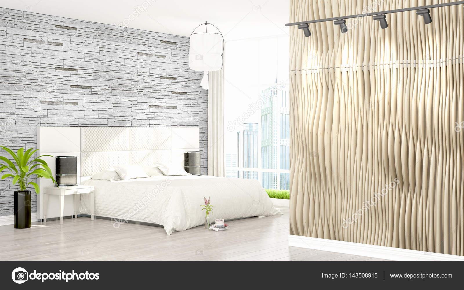 美丽的现代居室室内空墙.3d 渲染– 图库图片