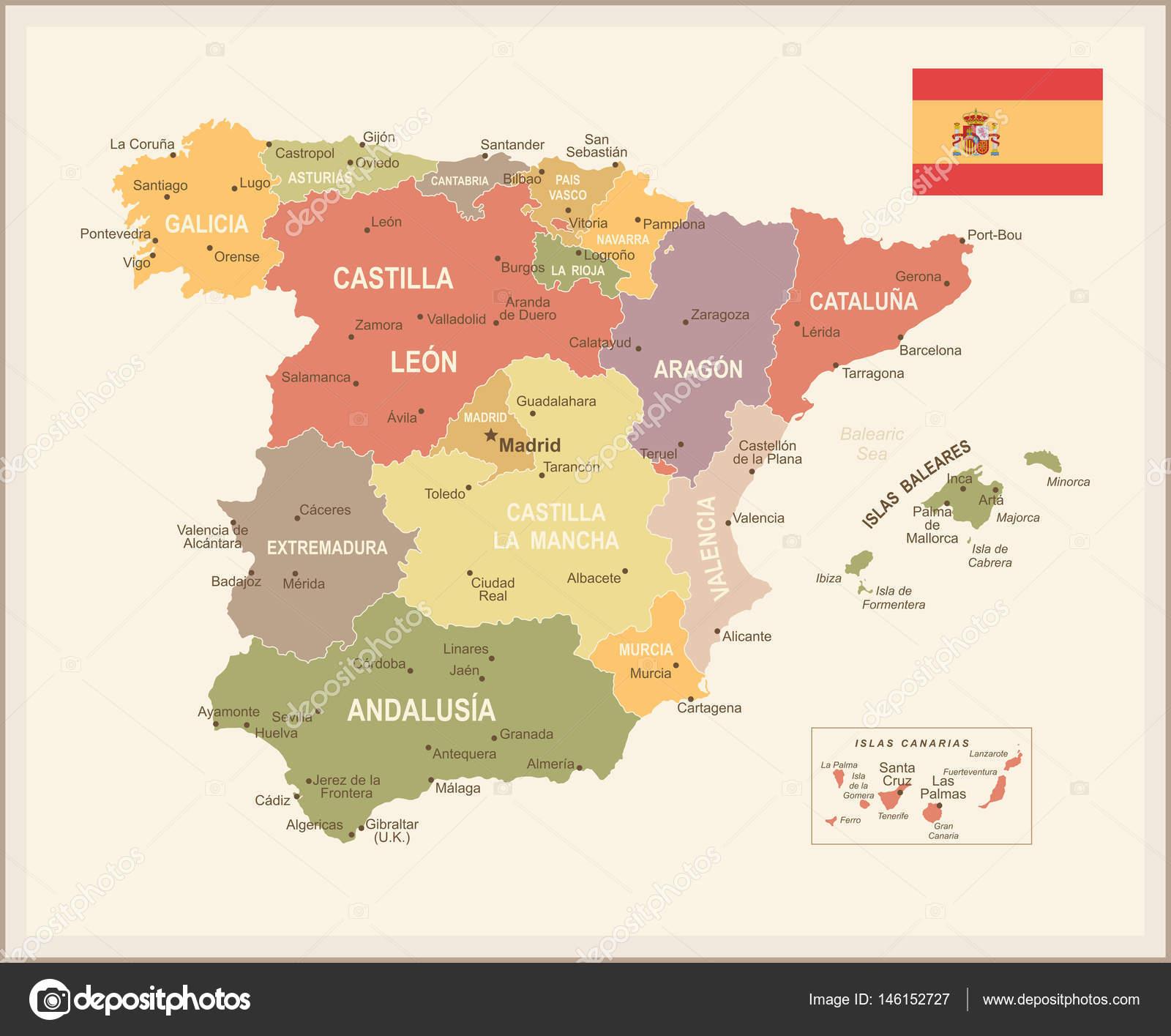 西班牙地图的矢量图– 图库插图
