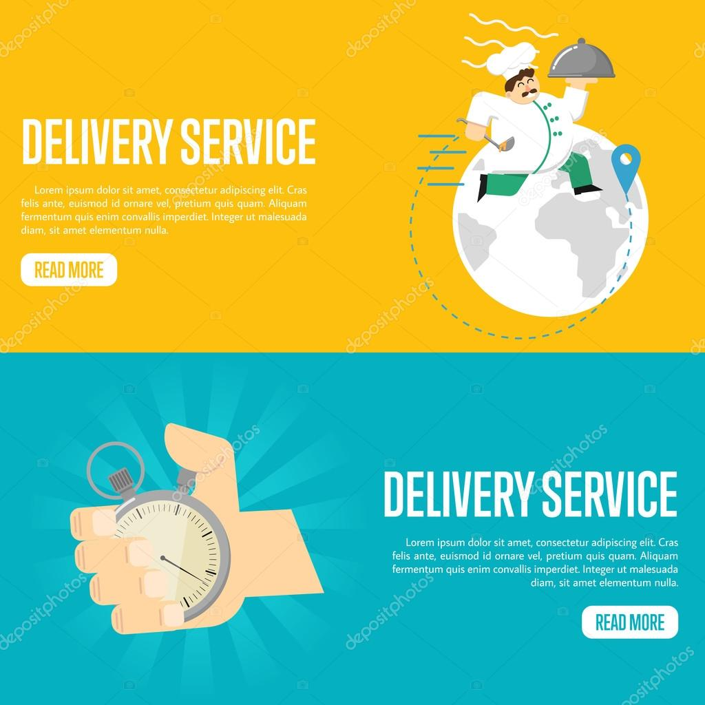 delivery service horizontal website templates stock vector