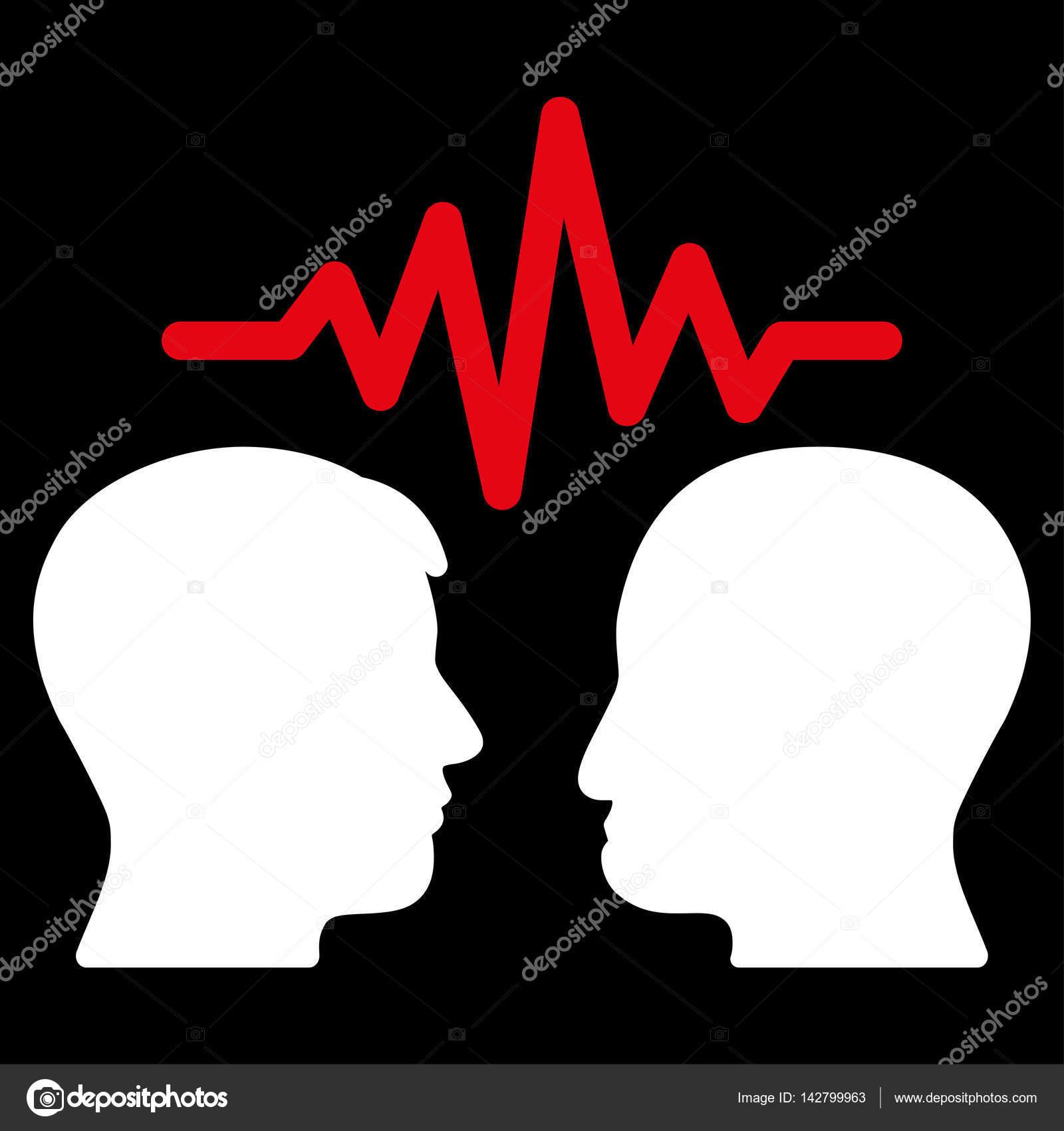 用户对话框信号矢量图标.平双色的红色和白色符号.