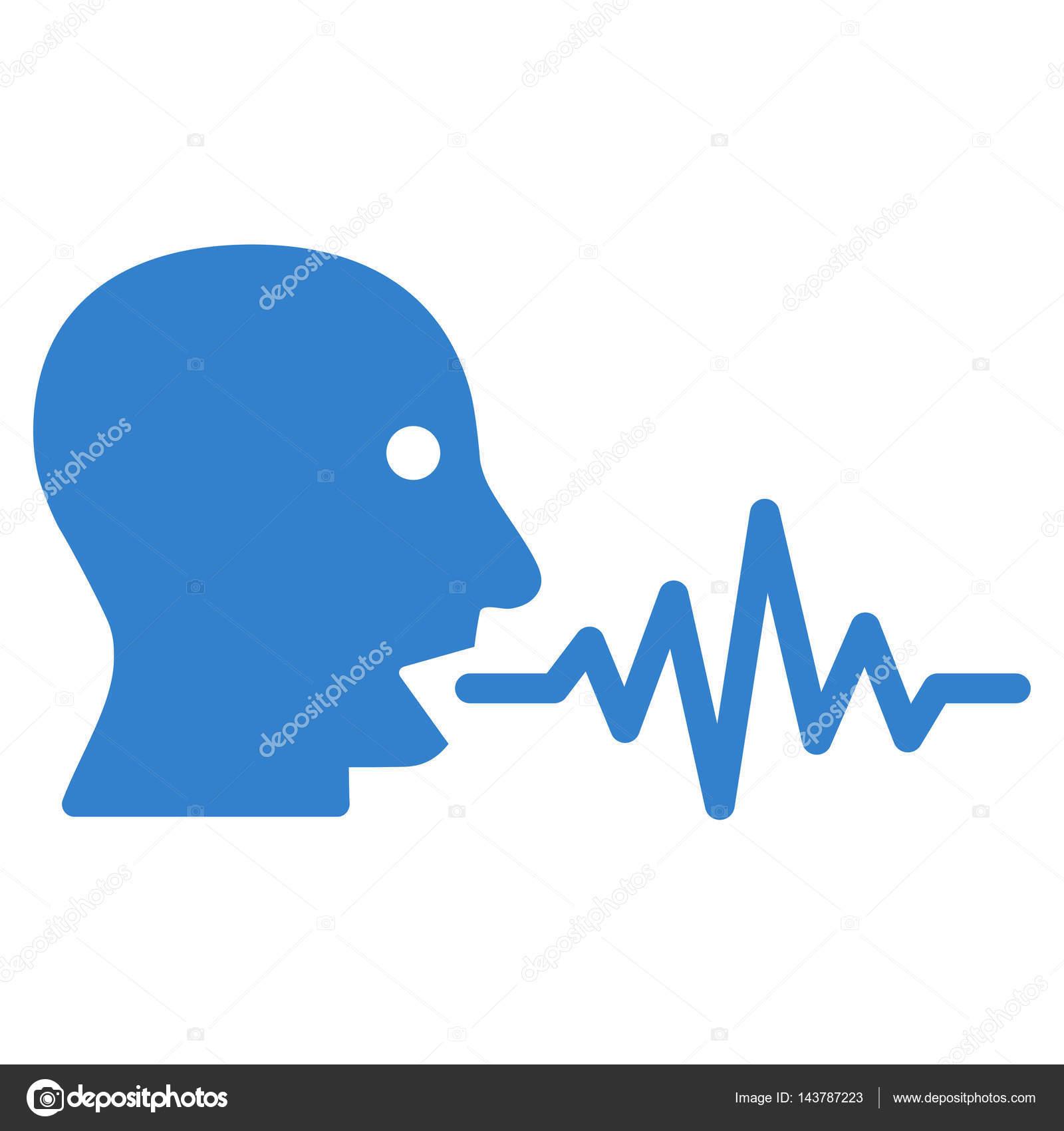 说话的用户信号矢量图标.平的钴符号.象形图是一个孤立的白色背景.