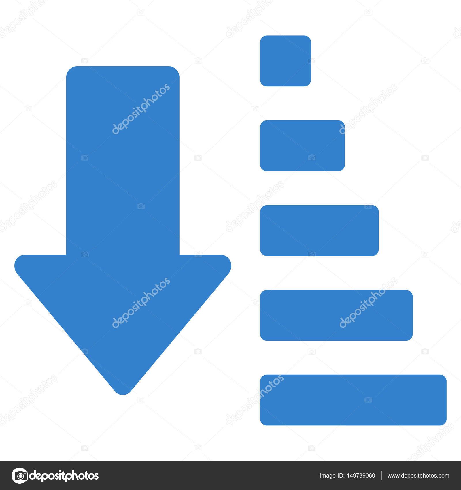 下箭头平面矢量图标排序