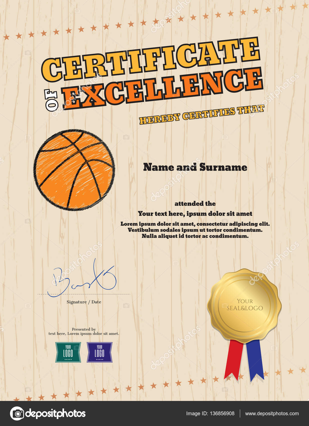 certificate of excellence template in sport theme for basketball – Basketball Certificate Template