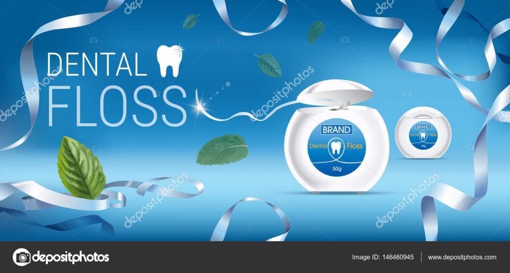 矢量与齿牙线的 3d 图.与产品的横幅 — 图库矢量图片#146460945