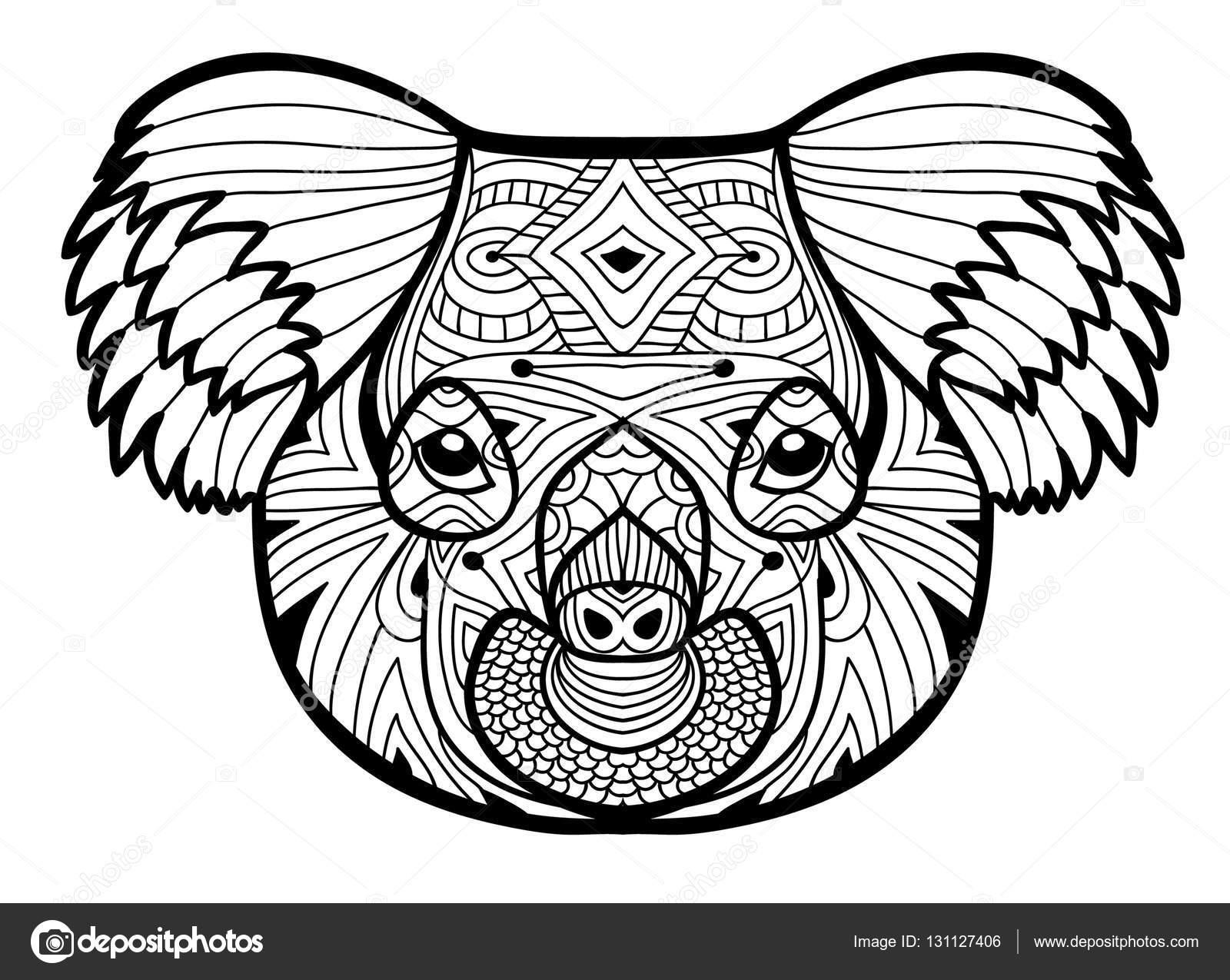 Totem Kleurplaat Voor Volwassenen Het Hoofd Van De Koala
