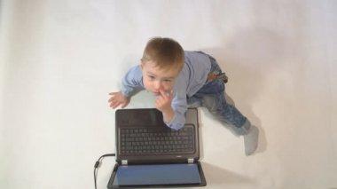 Little Boy Using Laptop. 4k